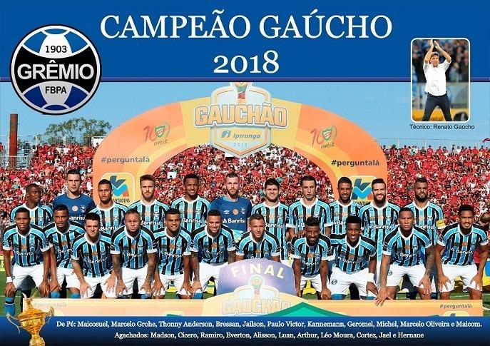 Poster Adesivo 50x70 Grêmio Campeão Gaúcho 2018 - R  29 cedabb8d2f875