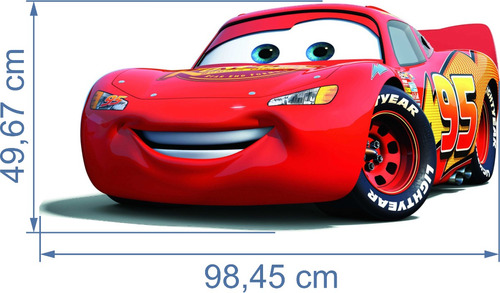 poster adesivo relâmpago mcqueen carros 98,45 cm x 49,67 cm