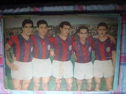póster antiguo delantera san lorenzo campeón 1959 el gráfico