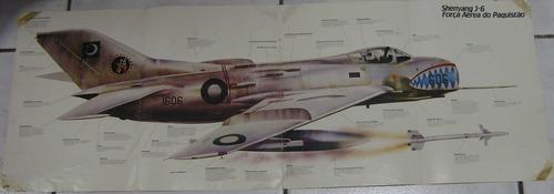 poster   -  aviões de guerra 1990 -  shenyang  j6