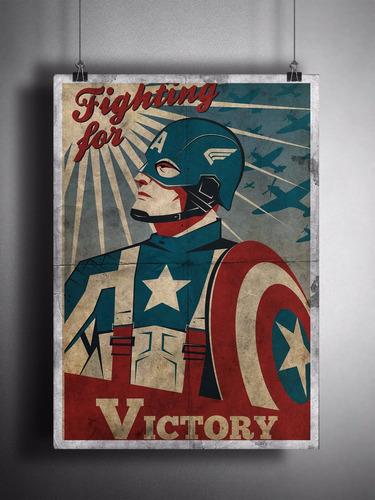 poster capitão américa retrô - 29x42cm em hd