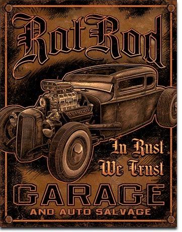 Poster cartel afiche metal retro vintage rat rod garage for Garage jm auto audincourt