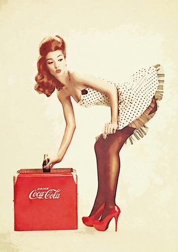 poster coca-cola pin-up ruiva