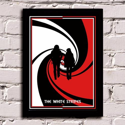 poster com moldura the white stripes banda decoração casa