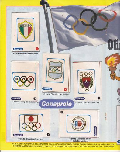 poster con 10 figuritas olimpiadas 1996 conaprole charona