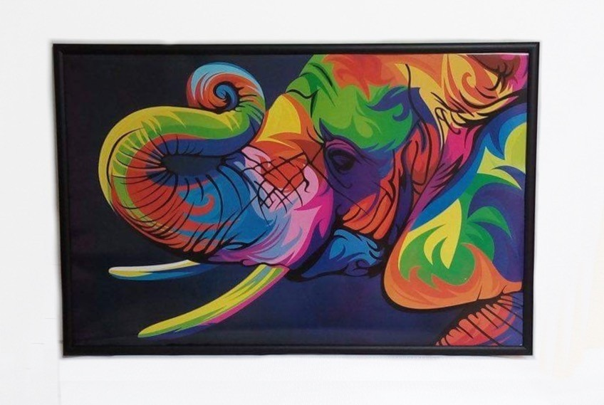 Poster Cuadro Marco De Madera 28 X 40 Cms Animales Colores ...