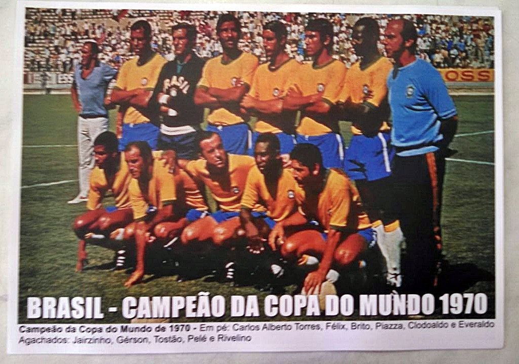 poster da seleção brasileira - campeão da copa do mundo 1970. Carregando  zoom. bfe09ab655cb5