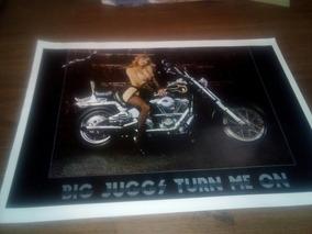Poster De Los 80s Chica Desnuda En Moto Harley