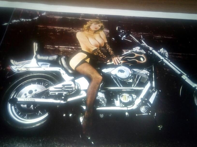 Poster De Los 80s Chica Desnuda En Moto Harley 8000