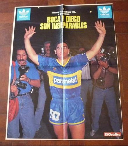 poster el grafico maradona y boca son inseparables 1992