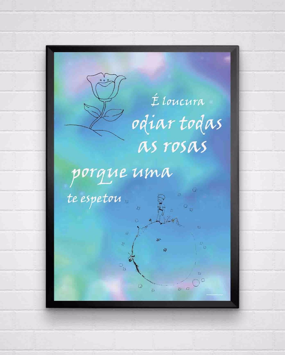 Poster Emoldurado Frase Pequeno Príncipe Tamanho A3 R 8940 Em