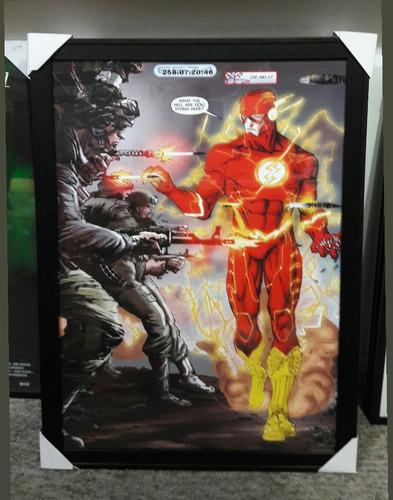 póster enmarcado flash . dc cómics 50x70 envío gratis
