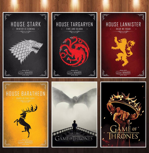 poster game of thrones - kit com 6 posters - super promoção