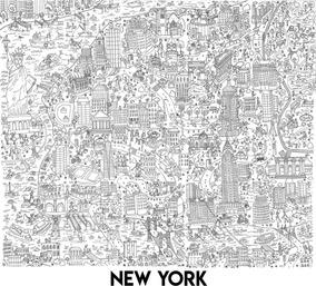 Póster Gigante De New York Para Colorear 102 X 88 Cm