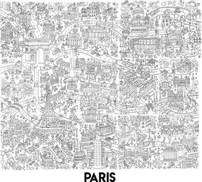 Póster Gigante De París Para Colorear 102 X 88 Cm