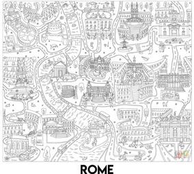 Póster Gigante De Roma Para Colorear 102 X 88 Cm