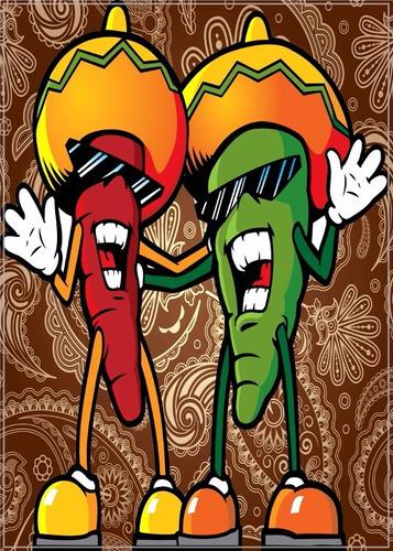 poster gravura 60cmx84cm decoração mexicana pimenta mariachi