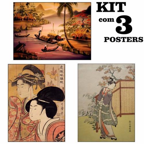 poster hd 65x100cm kit com 3 para decorar sala oriental
