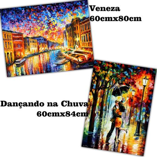 poster hd - kit com 2 -- afremov dançando na chuva + veneza