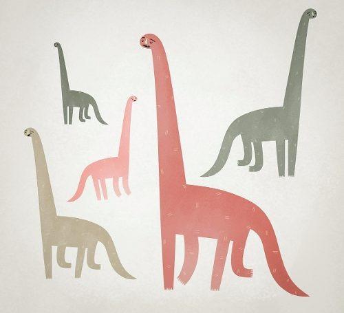 poster ilustración infantil dinosaurios 60 x 60 cm