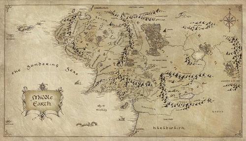 poster mapa terra media - o senhor dos anéis 50x90cm