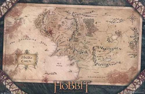 poster mapa tierra media señor de los anillos el hobbit