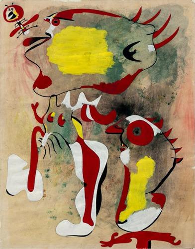 poster miró 60x75cm obra dois personagens para decorar sala