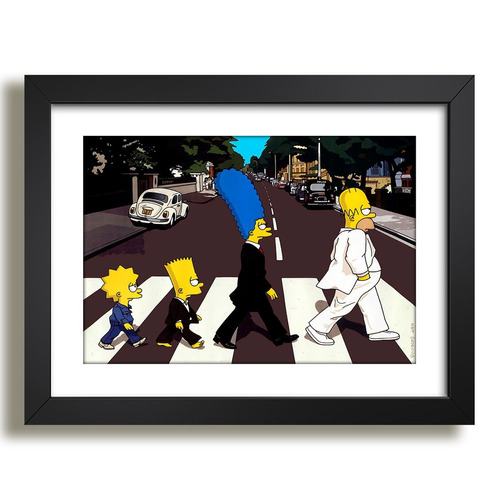poster moldura homer simpsons beatles abbey road og4 quadro