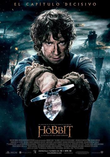 poster original cine el hobbit - la batalla de los cinco ejé