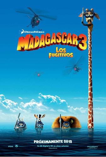 poster original cine madagascar 3 - los fugitivos