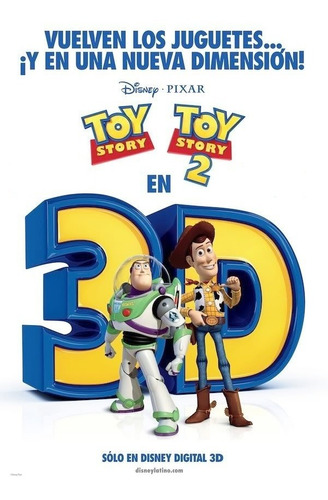 poster original cine toy story 1 y 2 - 3d