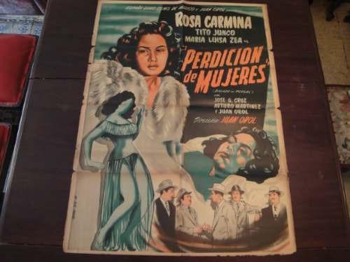 poster original mexicano perdicion de mujeres rosa carmina