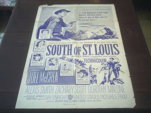 poster original south of st. louis joel mccrea ray enright