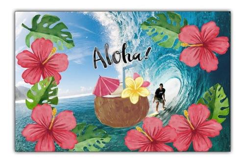 poster painel 65cmx100cm decorar festa havai flores -- surf