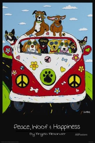 poster peace, woof and hapiness