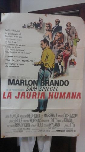 póster película  la jauría humana - marlon brando- 1966