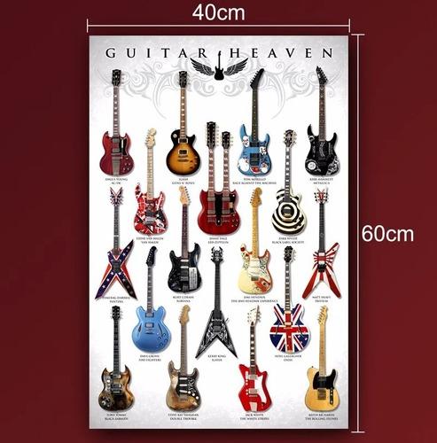 poster placa quadro guitarras famosas guitar heaven coleção