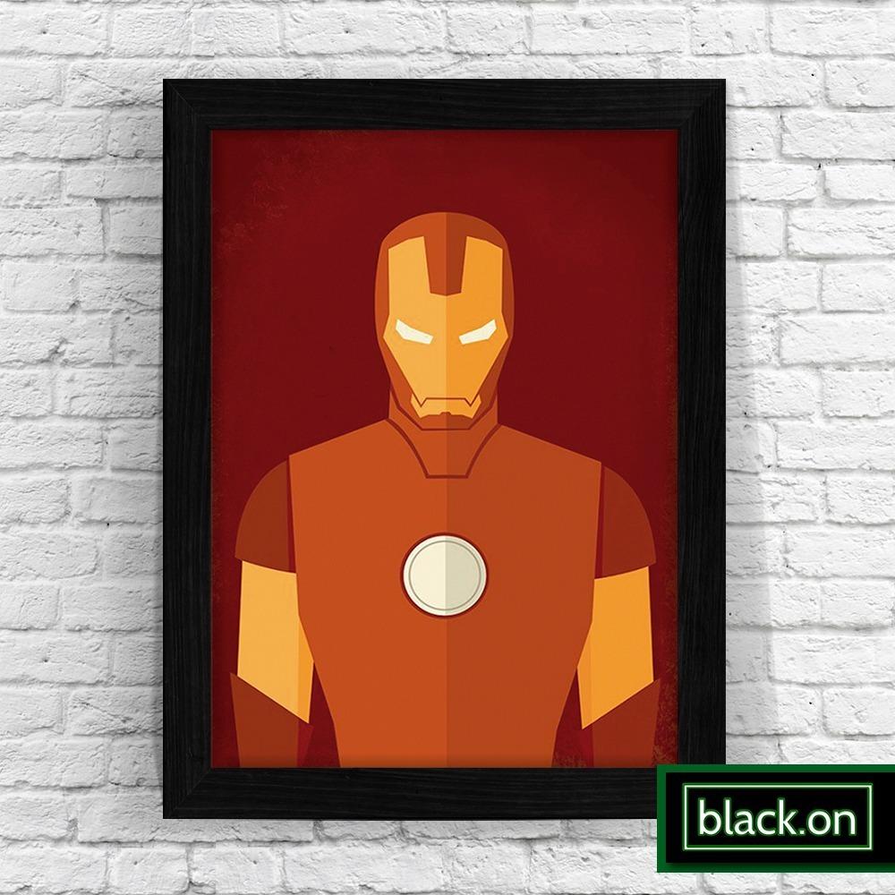 d5f6eb6b945 Poster Quadro Moldura Homem Ferro Iron Retro Infantil 30x20 - R  48 ...