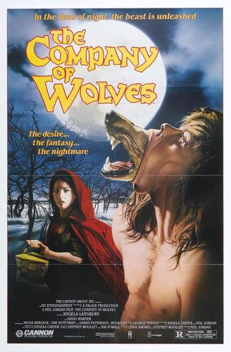 poster retro filme b company of wolves, antigo horror