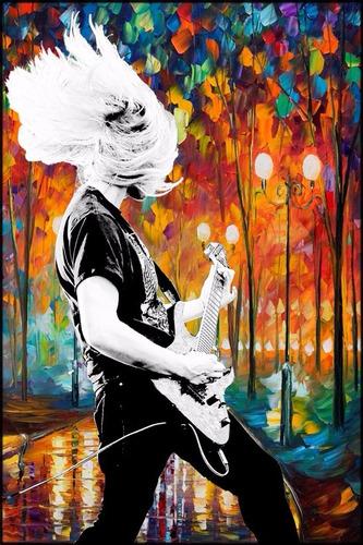 poster rock + arte 60x90cm para ornamentar sala moderna