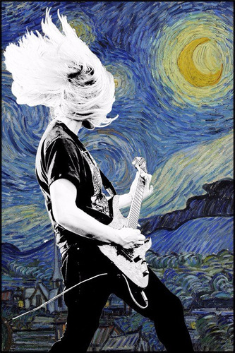 poster rock + arte 65x100cm foto decoração guitarra van gogh