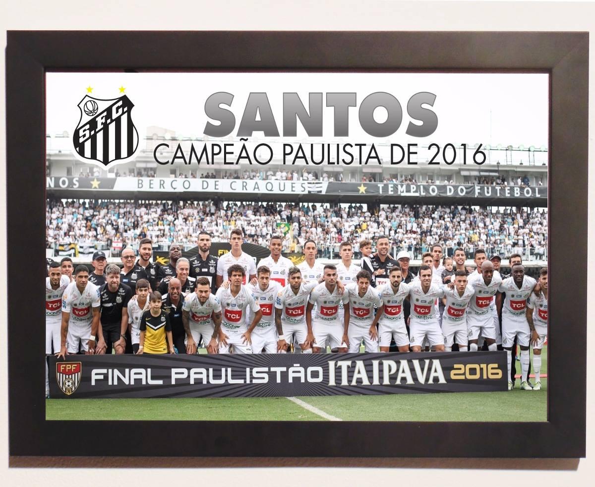 poster santos fc campeão paulista 2016 poster moldura. Carregando zoom. 2f6a356348fdb