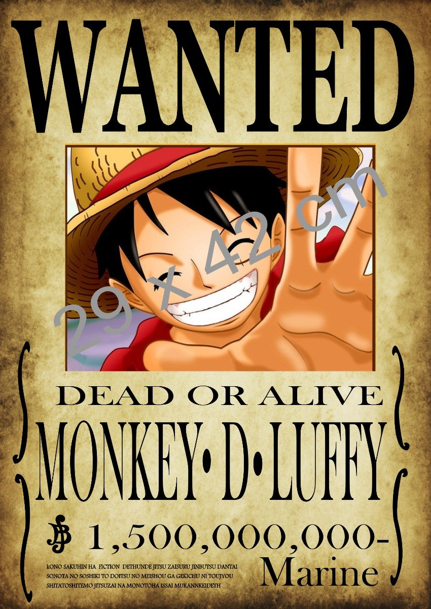 Poster wanted monkey d luffy a3 one piece en mercado libre - One piece wanted luffy ...