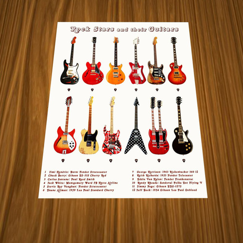 pósters guitarras famosos - frampton guns hendrix van halen