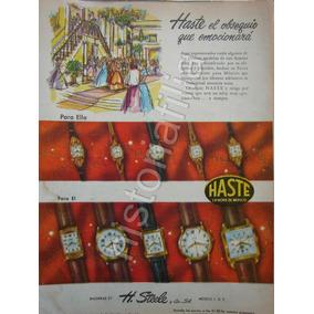 26cccbef69e1 Publicidad Antigua Relojes Haste 1950 De H. Steele Y Cia.