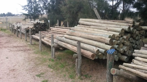 postes de madera tratada cca de 7 a 10 cm de espesor
