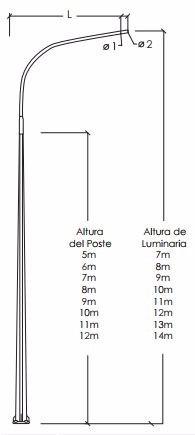 postes hexagonales para alumbrado