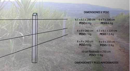 postes plasticos para cerca 8x6x2 - unidad a $18500