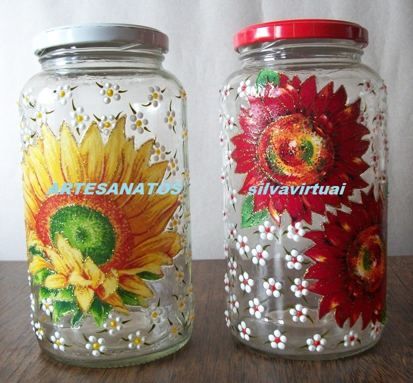 Enfeite De Vidro ~ Pote De Vidro Decorado, Alto Relevo, Decoupage, Enfeite R$ 9,99 em Mercado Livre