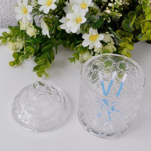 pote de vidro trabalhado incolor com tampa multiuso